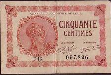 PARIS - CHAMBRE DE COMMERCE DE PARIS - BILLET DE NECESSITE 50c.