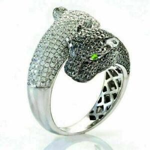 2.20 Ct Round Black & White Diamond Panther Double Face Ring 925 Sterling Silver