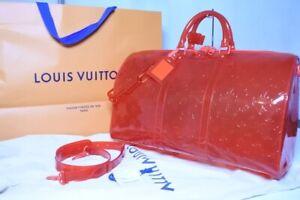 Louis Vuitton Virgil Keepall 50 Travel Bag Red M53274 Shoulder Monogram Auth New