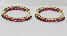 9ct Gold Ruby Ladies Hoop Earrings - Fine Quality