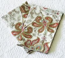 Pottery Barn Pair Organic Charlie Red Paisley Standard Pillow Shams ~ EUC Floral