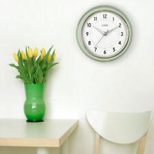 Wall Clock 9.5 in. Round Analog Plastic Retro Diner Design in Pistachio Green