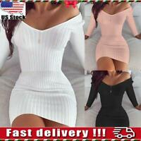 Women Long Sleeve V Neck Knitted Jumper Dress Ladies Plain Bodycon Mini Dress US