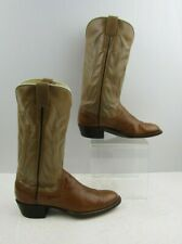 Ladies Bell Brown / Taupe Leather Western round Toe Cowgirl Boots Size: 6 ?