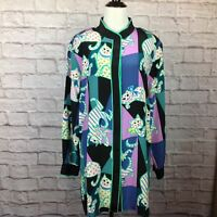 New Bob Mackie Wearable Art Tunic Blouse Women Large Cats Button Silk
