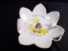 Holly Hobbie porcelain leaf shaped bowl Girl & kitty cat gold rim 3D butterfly