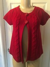 Women's Energie Red Short Sleeve 2-Button Knit Button Up Sweater Size S