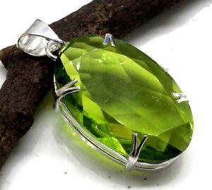 "925 Sterling Silver Green Peridot Gemstone Handmade Jewelry Pendant Size-1.80"""