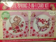 2 Spring Mice And Blossom Cards Cross Stitch Card Kit
