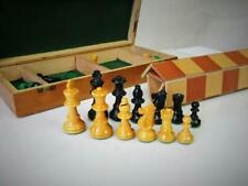 VINTAGE FRENCH  CHESS SET LARDY? STAUNTON WEIGHTED  K 68 mm PLUS BOARD AND BOX