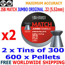 JSB EXACT MATCH JUMBO DIABOLO ORIGINAL .22 5.50mm Airgun Pellets 2(tins)x300pcs