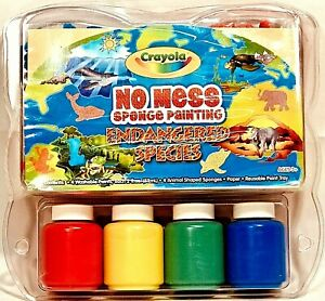 Crayola NO MESS Sponge Painting Set Endangered Species Kids Craft Washable RARE