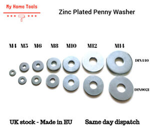 Bright Zinc Plated Penny Washers for bolts and screws M4 M5 M6 M8 M10 M12 M14