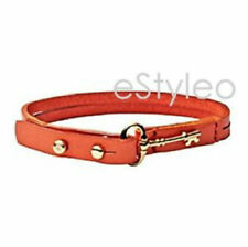 Fossil Brand Leather Bracelet Key Charm Stackable Coral Gold