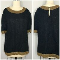 Vintage 70s Disco Beaded Blouse Size XL Black Gold Embellished cocktail Party