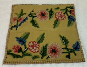 Vintage Tapestry Quilt Wall Hanging, Crewel, Flowers, Leaves, Cotton, Wool, Gold