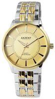 Akzent Damenuhr Gold Silber Analog Metall Quarz Armbanduhr D-2800068002