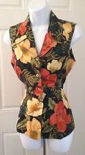 Rafaella Colorful Floral Hibiscus Sleeveless Silk Career Button Down Blouse Sz 6