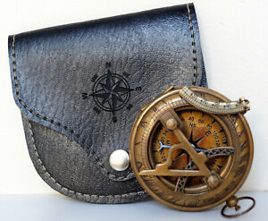 Antique Brass Sundial Compass Stanly London With Black Leather Case Item Gift