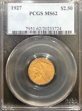 PCGS MS62 1927 $2.5 Indian Head Gold Coin.! Choice BU.!