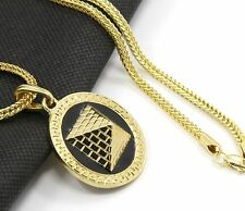 "Mens Round Pyramid Pattern Gold Plated Black 24"" Franco Chain Pendant Necklace"