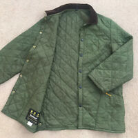 Barbour Quilted Coat Jacket LIDDESDALE MADE IN ENGLAND mens green olive size M L