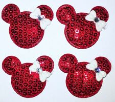 4PC Minnie Mouse Appliques Sew On Patch Sequin Padded Embellishment DIY Crafts