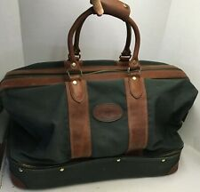 Orvis Battenkill Large Green Canvas & Brown Leather Duffle Bag Suit Case