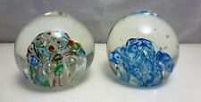 2 VINTAGE JAPAN HAND BLOWN GLASS COLORFUL ROUND PAPERWEIGHTS, c. 1940's