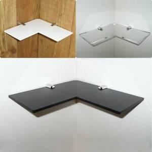 "Acrylic Safety Corner Shelf 9"" Shelf Black White Clear Frost Glass Look Bathroom"
