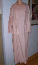 Vintage David Dart 2 Piece Pink Linen Maxi Dress Jacket Ensemble Sz Petite EUC