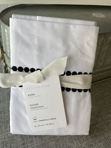 "NEW Pottery Barn Pearl Organic Percale Sham - Euro Square 26"" 2 Available"