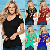 Women Summer Cold Shoulder Blouse T Shirts Short Sleeve Casual Hollow Lace Tops