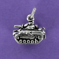 Military Tank Charm Sterling Silver for Bracelet War Armored Vehicle Artillery