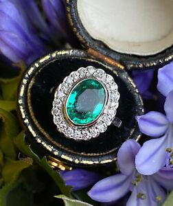 Emerald and Diamond Platinum Ring 0.50ct + 2.14ct