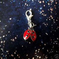 1 x Ladybird Silver Plated Enamel Clip On Pendant Charm