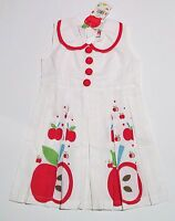 Girls Gatsby Hand Printed Apple Dress Size 2 100% Cotton by Oobi New with Tags