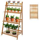 4 Tier Folding Bamboo Flower Stand Plant Shelf Ladder Bookcase Organizer Display