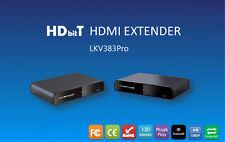 Up to 120M/394Ft, LKV383Pro HDbitT HDMI over IP CAT6 Extender with HDMI loop-out