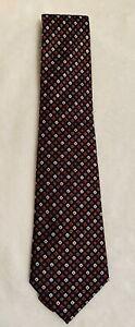 DUNHILL TAYLOR 100% Silk Neck Tie Black  Diamond Print Made in Italy EUC