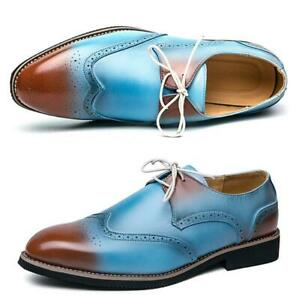Mens Casual Brogue Pointed Toe Lace Up Oxfords Business Formal Party Dress Shoes