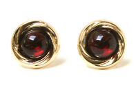 9ct Gold Garnet earrings 10mm Stud Gift Boxed studs Made in UK Valentines