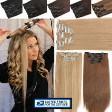 Ombre Mix Clip in 8 Pieces 100% Thick as Human Hair Extensions Full Head Long US