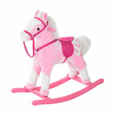 Children Kids Super soft padded Plush Rocking Horse With Sound-Pink