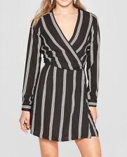 Women's Long Sleeve Wrap Dress - Xhilaration™ Black/White M