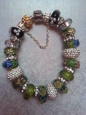 Anesiidora 18KGP Silver European bead bracelet Gold Lime Green Flower Foil Black