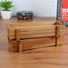 Wooden Garden Flower Herb Planter Succulent Pot Rectangle Trough Box Plant Bed #