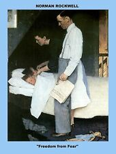 """FOUR (4)  COPIES OF NORMAN ROCKWELL PRINTS,  """"The Four Freedoms""""  8 X 10"""
