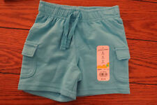 Girls Shorts Sz 3 mo Solid Blue Elastic Waist 100% Cotton Jumping Beans NWT