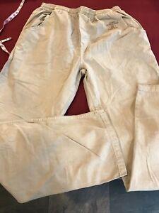 New XL Men Crazy Shirts Kona Coffee Dyed Twill Drawstring Waist TAN Cotton Pants